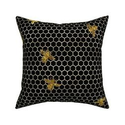 Bees Hive Hexagons Rose Gold Throw Pillow Cover w Optional I