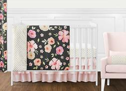 Black, Blush Pink and Gold Shabby Chic Watercolor Floral Bab