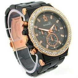 Black Rose Gold Geneva Acrylic Band Crystal Bezel Oversized