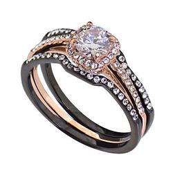 Black/Rose Gold IP Stainless Steel Round Cubic Zirconia Wedd