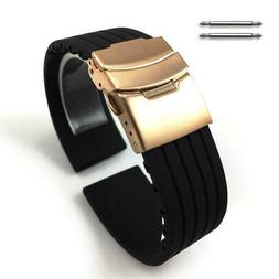 Black Rubber Silicone Watch Band Strap Rose Gold Double Lock
