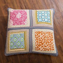 DaDa Bedding Bohemian Gallery of Roses Quilted Square Pillow