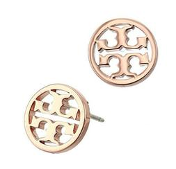 Brand New Tory Burch Logo Circle-Stud Rose Gold Earrings w/