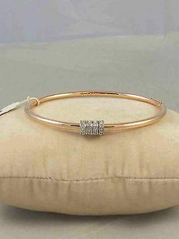 Fossil Brand Rose Gold Starter Slider Charm Hinged Bangle Br