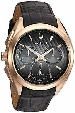 Bulova 97A124 Men's Curve Collection Rose Gold Tone Leather