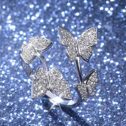 Butterfly 925 Silver,Rose Gold,Gold Women's Rings White Sapp
