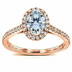 Annello by Kobelli 14k Rose Gold Oval Moissanite and 1/3ct