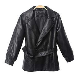LINGMIN Women's Casual Faux Leather Jackets Fashion Lapel Ti