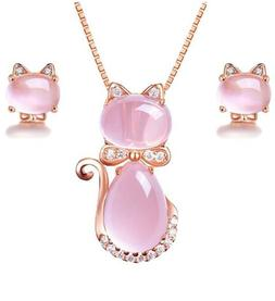 Cat Necklace Earrings For Girls Set Rose Gold Pendant Women