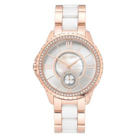 Anne Klein  Ceramic  Two-Tone Swarovski Crystal Womens Watch
