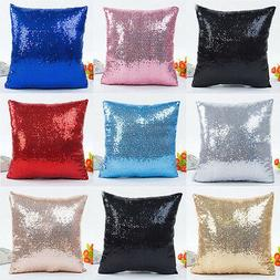 Christmas Sequins Pillow Case Throw Cushion Cover Home Pillo