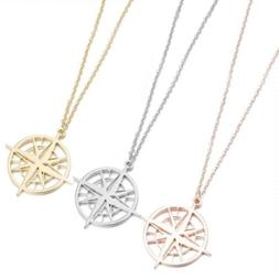 Compass Necklace For Women Charm Pendant Stainless Steel Gol