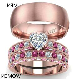 Couple Rings Rose Gold Filled Titanium Steel Mens Band CZ Wo