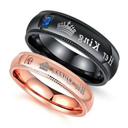 Couple's Matching Ring Set His Queen or Her King Wedding Ban