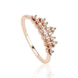 OMNFAS Crown Ring Sparkles Cubic Zirconia Rose Gold Rings fo