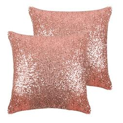 PONY DANCE Sparkling Pillow Covers - Comfy Satin Solid Sequi