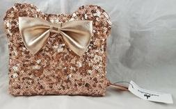 Disney Parks Loungefly Rose Gold Sequin Mouse Ears Clutch Zi