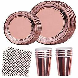 Disposable Dinnerware Set Rose Gold Party Supplies Elegant F
