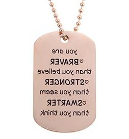 Kendasun Jewelry Dog Tag You are Braver than you believe. Pr