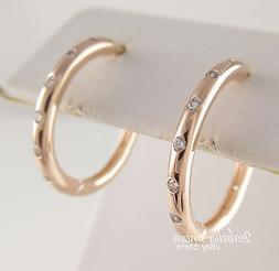 DROPLETS Authentic PANDORA Rose GOLD Plated HOOP Earrings 28