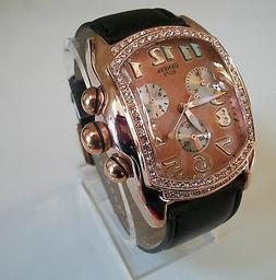 ELEGANT BLACK/ROSE GOLD FINISH LEATHER BAND MEN'S FASHION WA