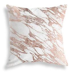 Joyce Elegant White and Rose Gold Marble Pattern Cushions Ca