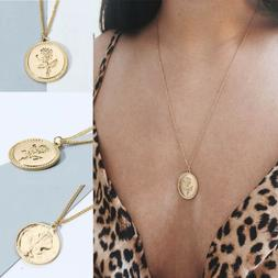 Elegant Women's Rose Gold Plated Necklace Charm Coin Round P