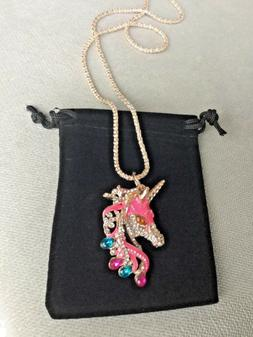 Enamel hot pink Crystal Unicorn Horse Betsey Necklace rose g