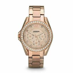 FOSSIL ES2811 Riley Multifunction Rose Gold-plated Ladies Wa
