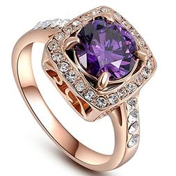 Women's 18K Rose Gold Plated Timeless Imitation Amethyst Pr