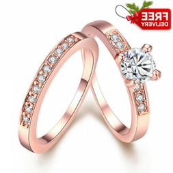 TIVANI  Women's Pretty 18K Rose Gold Plated Solitaire CZ...