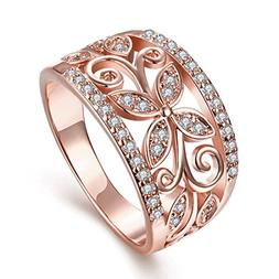 TIVANI  Women's Pretty 18K Rose Gold Plated Filigree CZ Crys
