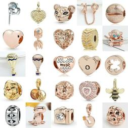 European Silver Charms Rose Gold Heart Beads Gifts CZ Pendan