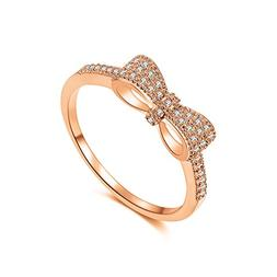 DIFINES Fashion Cute Bow Knot CZ 18k Rose Gold Plated Eterni