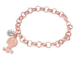 Fashion Rose Gold Boy Rhinestone Charm Chain Bracelet #91760