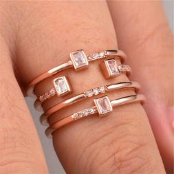 Fashion Rose Gold Filled Women's Wedding Rings Jewelry White
