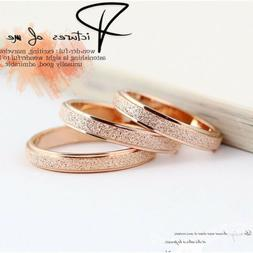 Women Stainless Steel Silver Rose Gold Frosted Men Wedding B