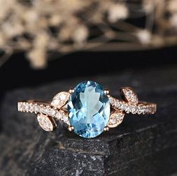 Fashion Women 14K Solid Rose Gold Aquamarine Ring Wedding Pa