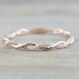 Fashion Women 14K Solid Rose Gold Stack Twisted Ring Wedding