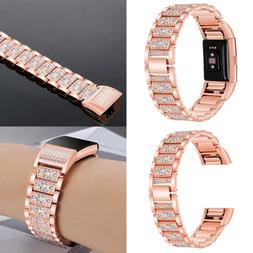 For Fitbit Charge 3 2 Bands Bling Diamond Strap Stainless Wa
