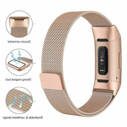 For Fitbit Charge 3 Replacement Magnetic Loop Strap Stainles