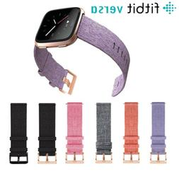 For Fitbit Versa Strap Replacement Woven Fabric With Rose Go