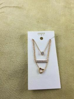 Fossil Women's Rose Gold Tone Multi-chain Charms Necklace