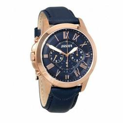 FOSSIL FS4835 Grant Rose Gold tone Case Blue Leather Band Me