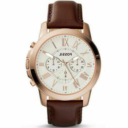 Fossil FS4991 Grant Chronograph Rose Gold Tone Leather 44mm