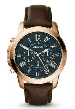 Fossil FS5068 Grant Blue Dial Rose Gold Tone Case Brown Leat