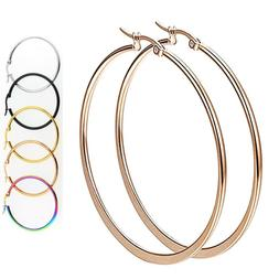 Gold Rose Gold Black Silver Stainless Steel Simple Round Hoo