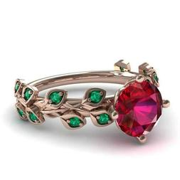 Gorgeous Rose Gold Filled Round Cut Ruby Women Cocktail Ring