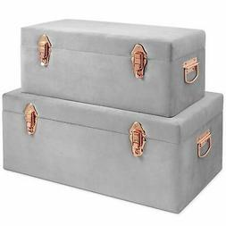 Beautify Gray Velvet Decorative Storage Trunk Set with Rose
