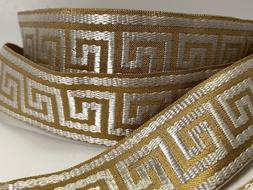 Greek key, rose gold and white Jacquard fabric trim 1 1/2 in